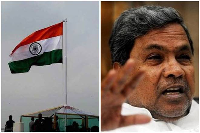 Karnataka state flag Congress Karnataka assembly elections Siddaramaiah Indian national flag Indian tricolour